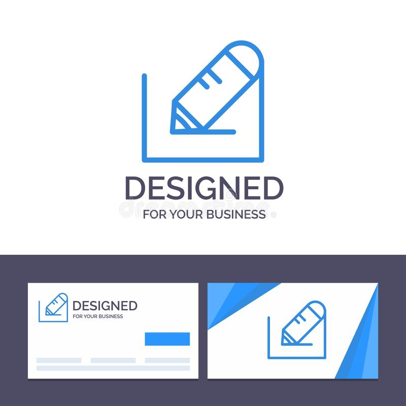 Creative Business Card and Logo template Pencil, Write, Text, School Vector Illustration royalty free illustration