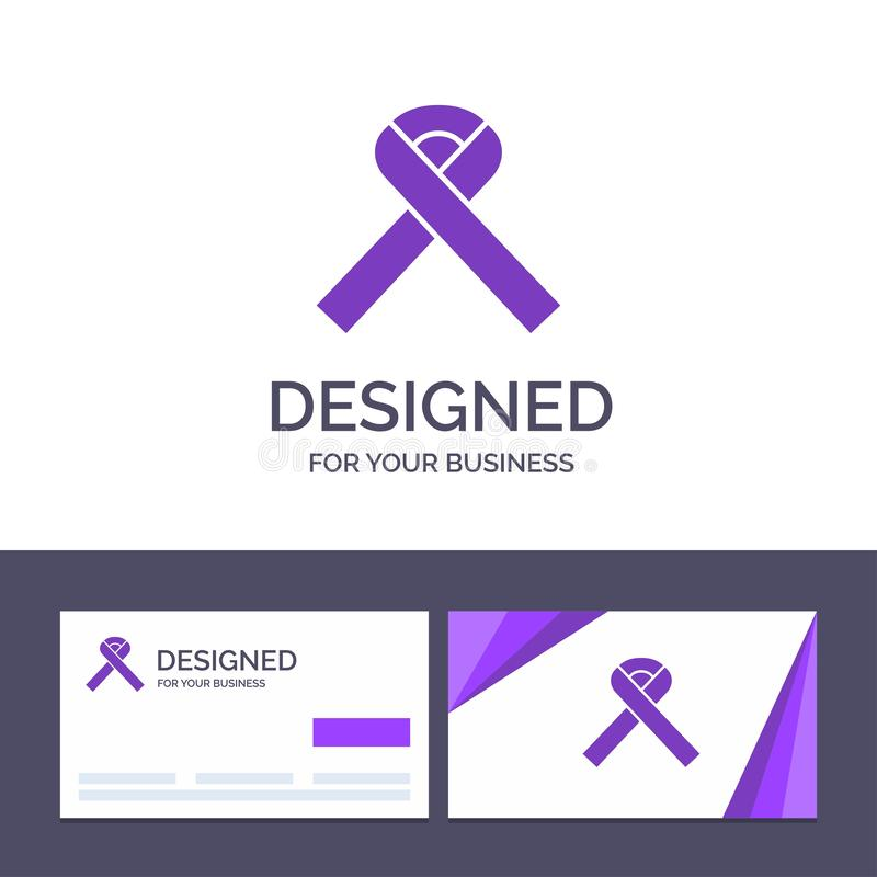 Creative Business Card and Logo template Ribbon, Awareness, Cancer Vector Illustration stock illustration