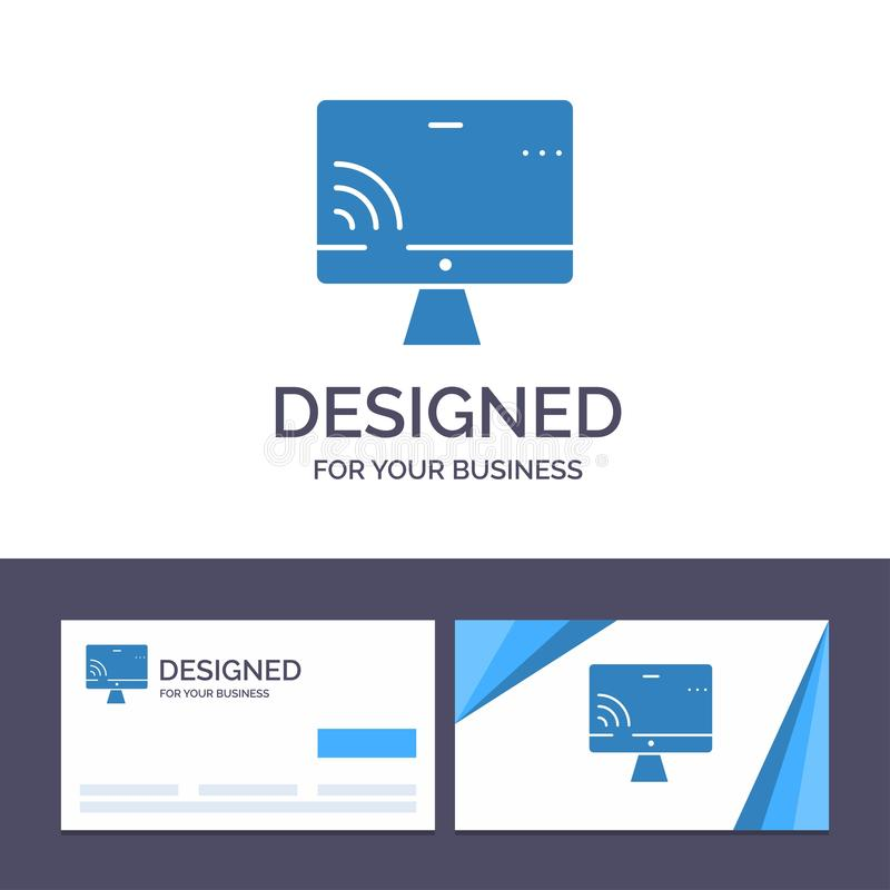 Creative Business Card and Logo template Screen, Monitor, Screen, Wifi Vector Illustration royalty free illustration