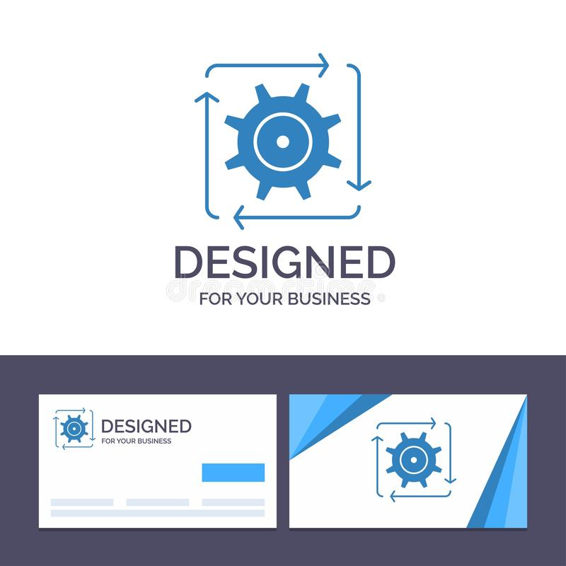 Creative Business Card and Logo template Workflow, Automation, Development, Flow, Operation Vector Illustration royalty free illustration