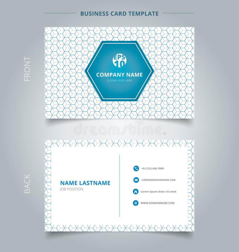 Creative business card and name card template geometric blue, gr stock illustration