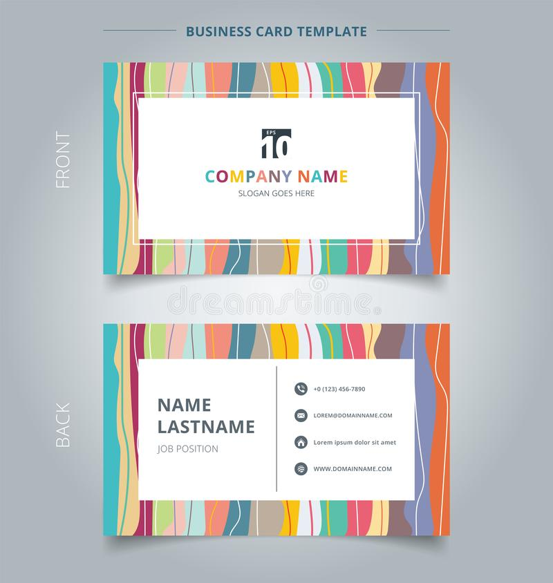 Creative business card and name card template colorful pastels v. Ertical striped background. Abstract concept and commercial design. vector graphic illustration stock illustration