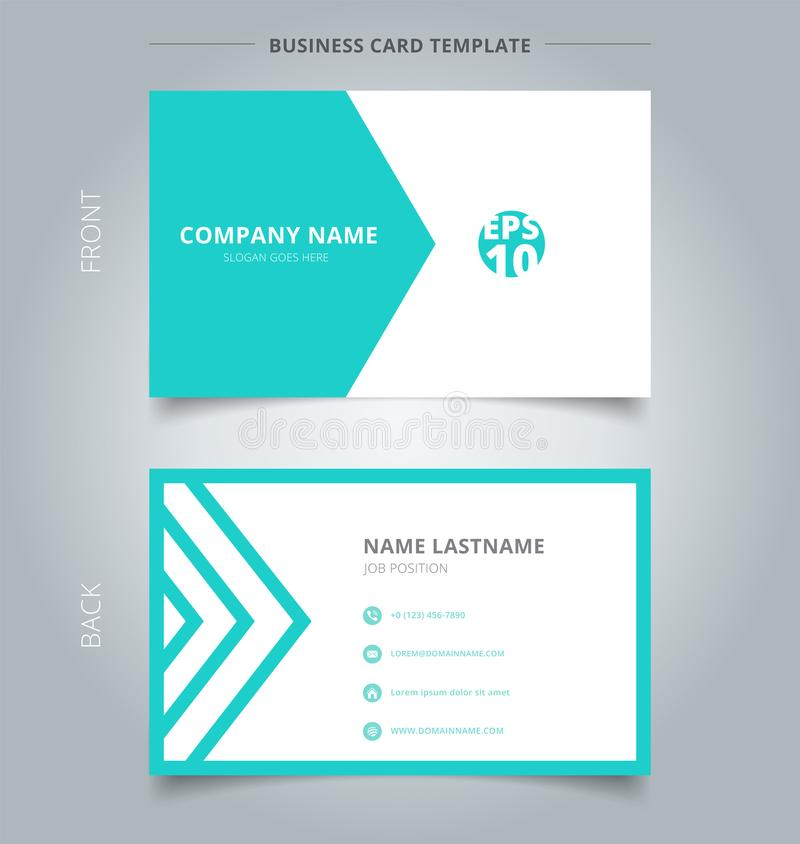 Creative business card and name card template green and white tr. Iangle pattern. Abstract concept and commercial design. vector graphic illustration royalty free illustration