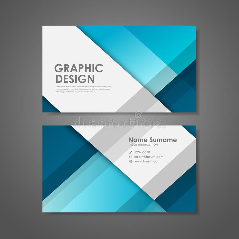 Creative Business Card Template In Blue Stock Vector - Illustration ...