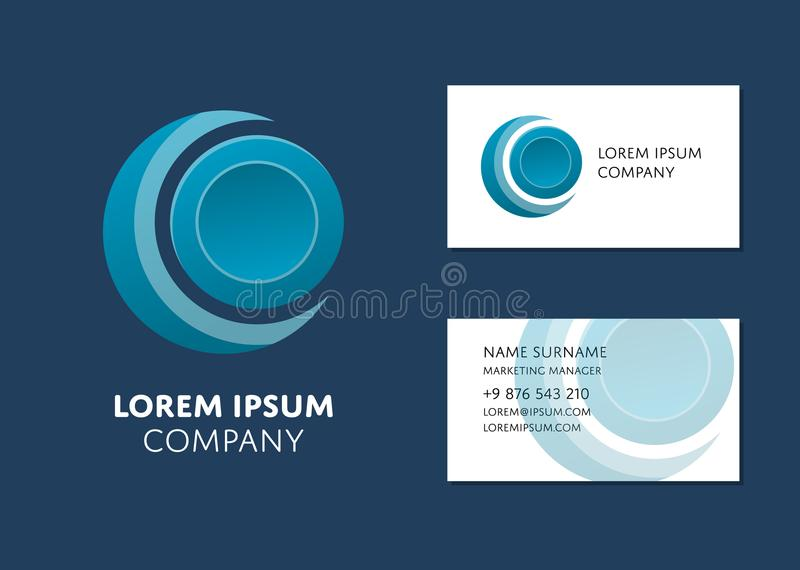 Business card template with blue circle logo stock vector download business card template with blue circle logo stock vector illustration of marketing circle cheaphphosting Images