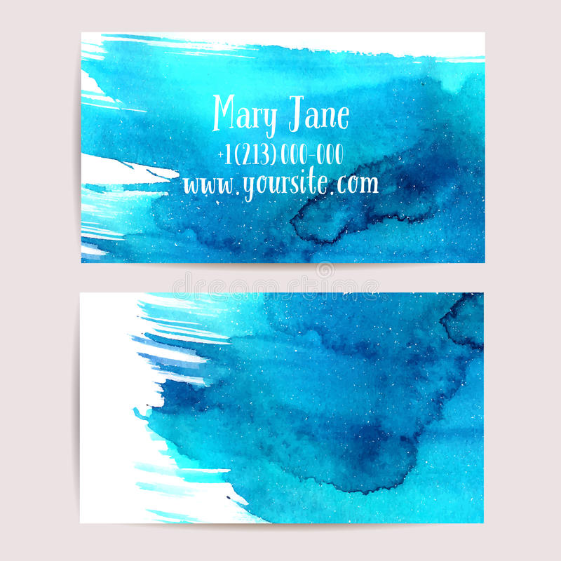Creative Business Card Template With Watercolor Stock Vector ...