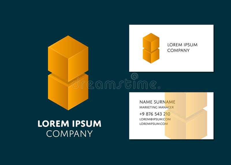 Business card template with yellow cube logo royalty free illustration