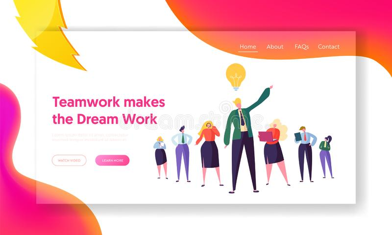 Creative Business Group Teamwork Landing Page. Corporate People Team Work at Project Solution Idea. Man Brainstorm royalty free illustration