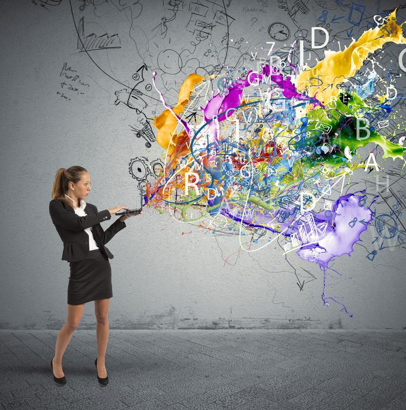 Creative business idea. Businesswoman works on a creative business idea stock image