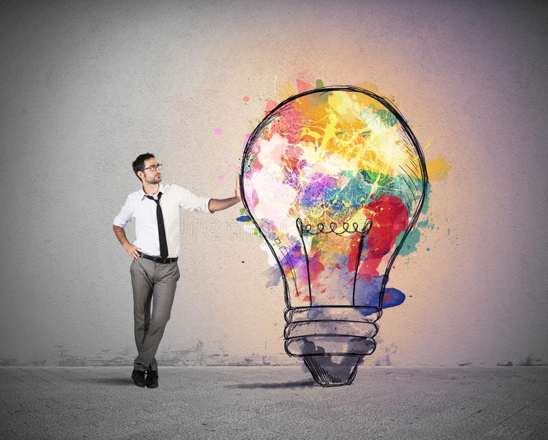 Creative business idea. Concept of Creative business idea with colorful lightbulb stock images