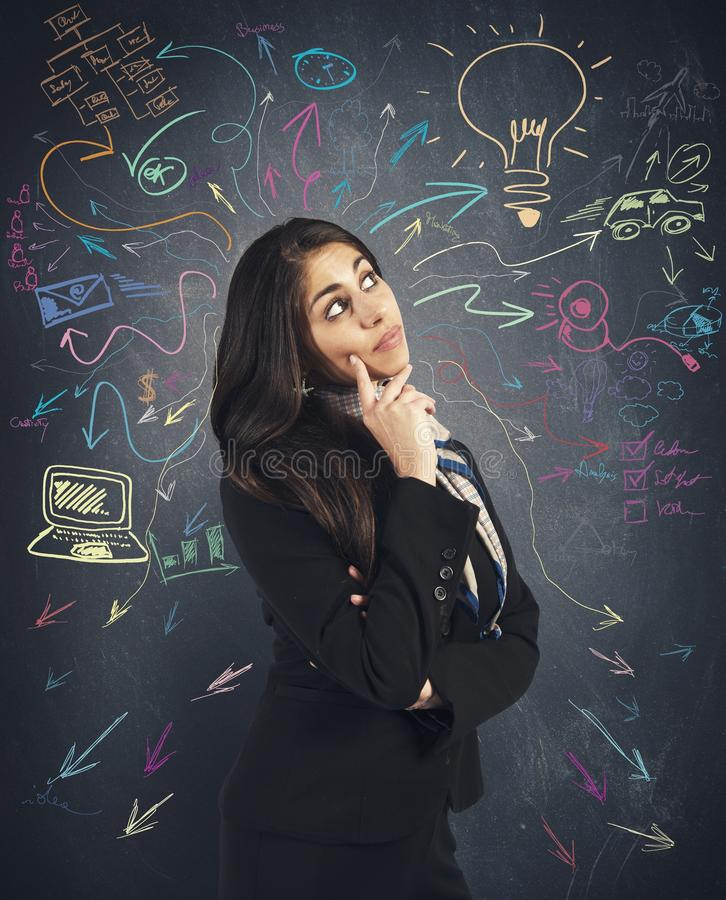 Creative business idea. Of a young businesswoman stock photo