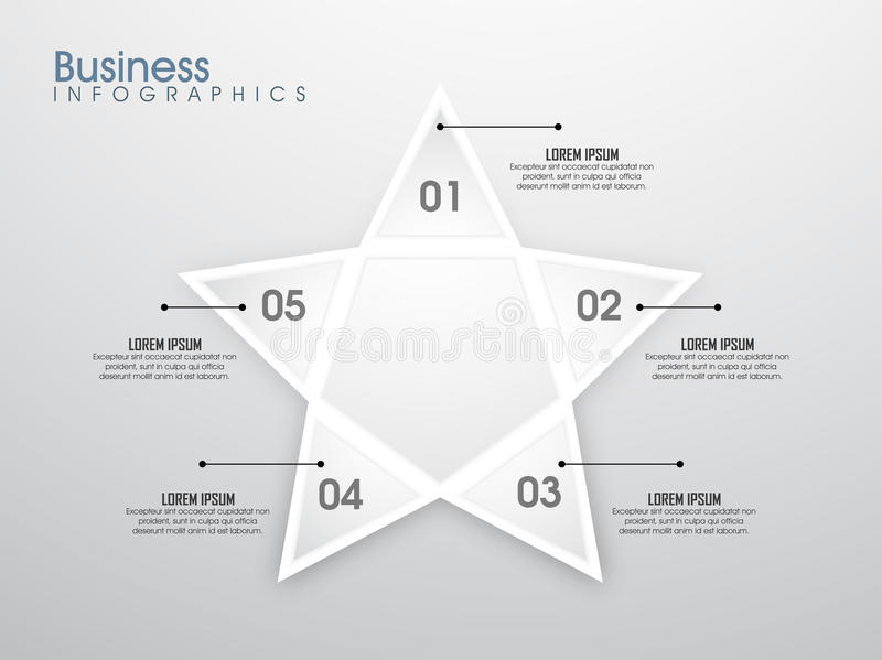 Creative Business Infographic layout with elements. Professional Business Infographic layout with star shape element and numbers royalty free illustration