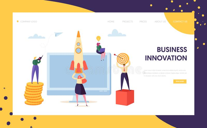 Creative Business Innovation Startup Landing Page. Marketing Character Launch Rocket to Aim. New Project Success stock illustration