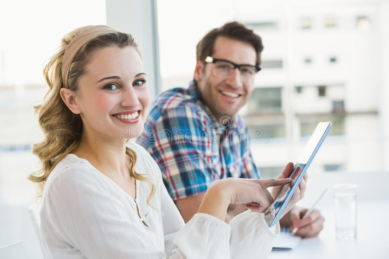 Creative business partners working together royalty free stock photos