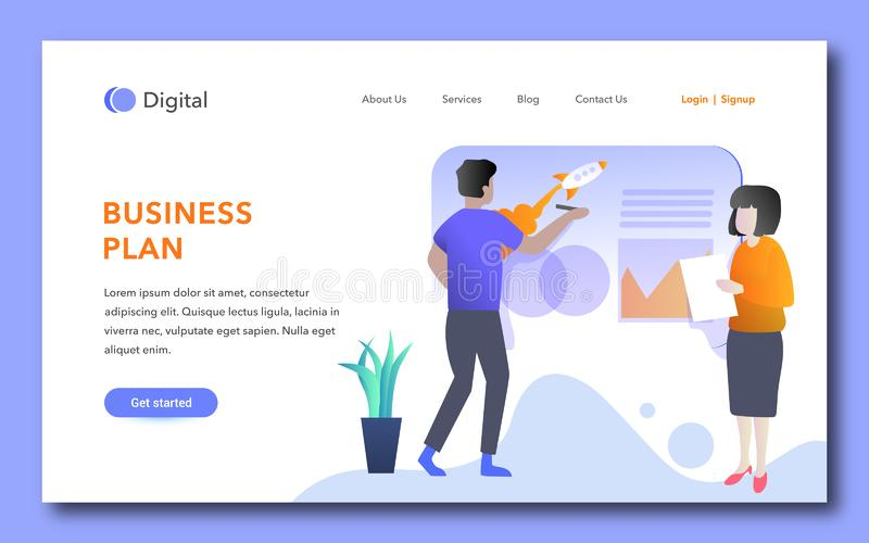 Creative business plan landing page design. Landing page template. Decorated people character for web page or homepage. Vector illustration vector illustration