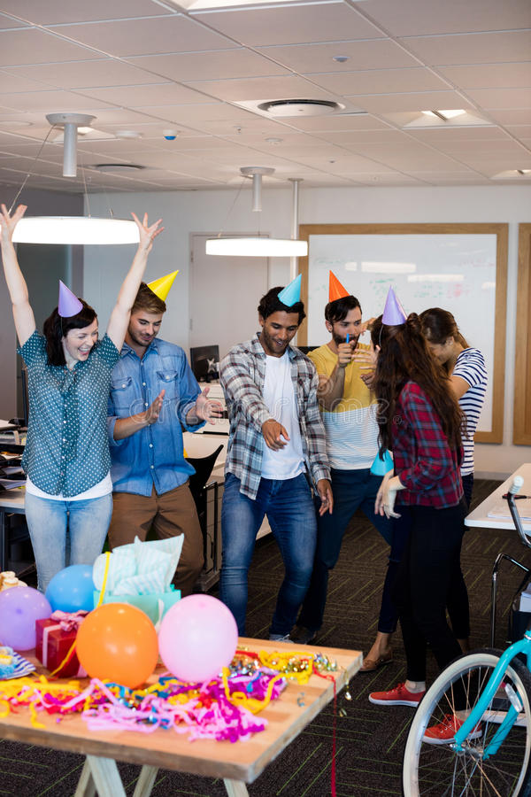 Creative business team dancing together royalty free stock image