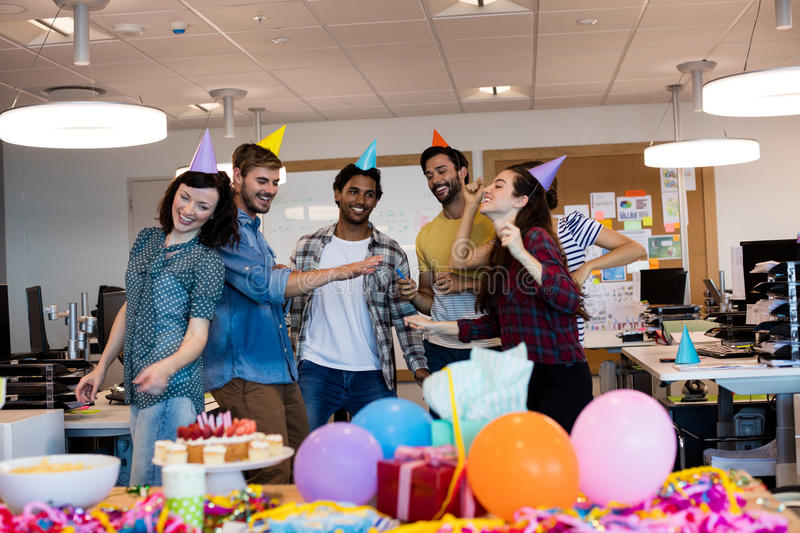Creative business team dancing together stock image