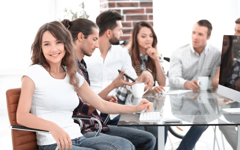 Creative business team discussing stock photo