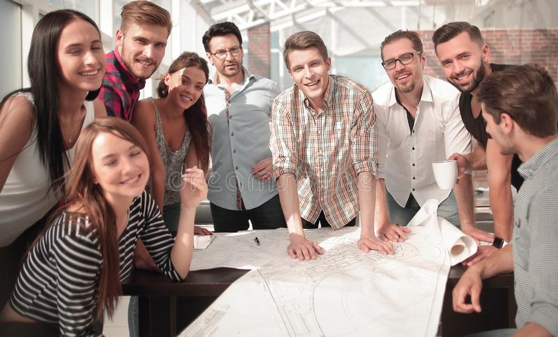 Creative business team in the workplace stock image