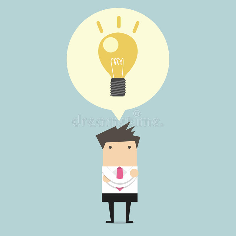 Creative businessman get the idea under a lightbulb royalty free illustration
