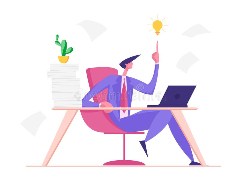 Creative Businessman Having Good Idea. Business Man Sitting at Table with Much Work Pointing on Glowing Light Bulb stock illustration