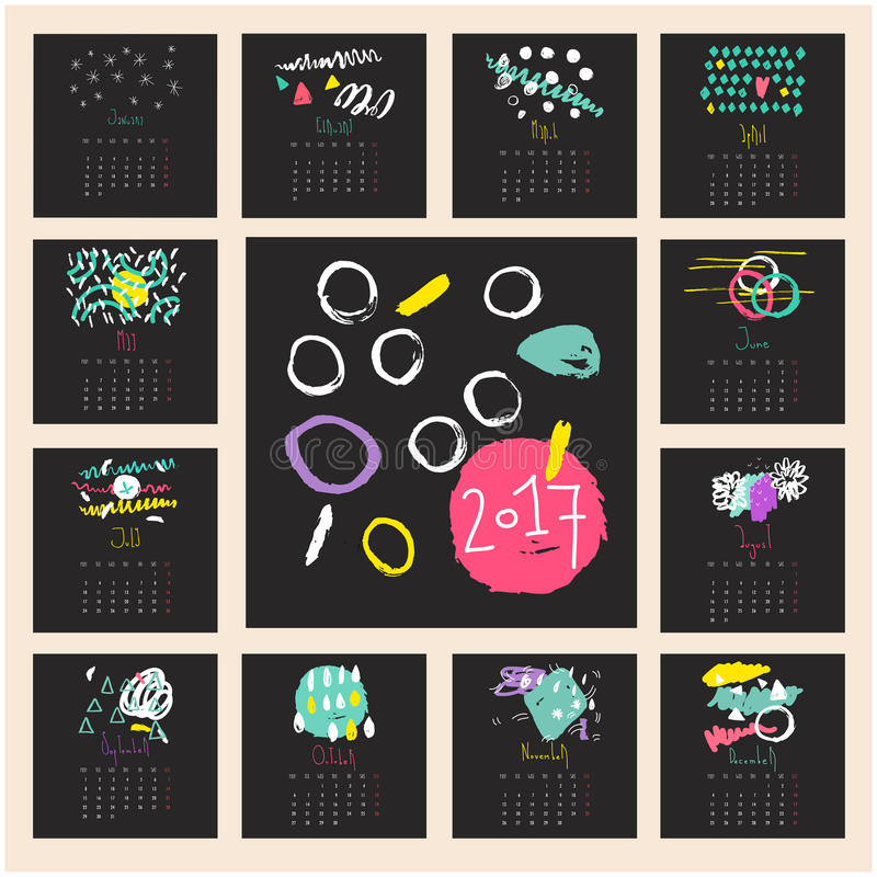 Creative Calendar Hand Drawn Texture Stock Vector Illustration