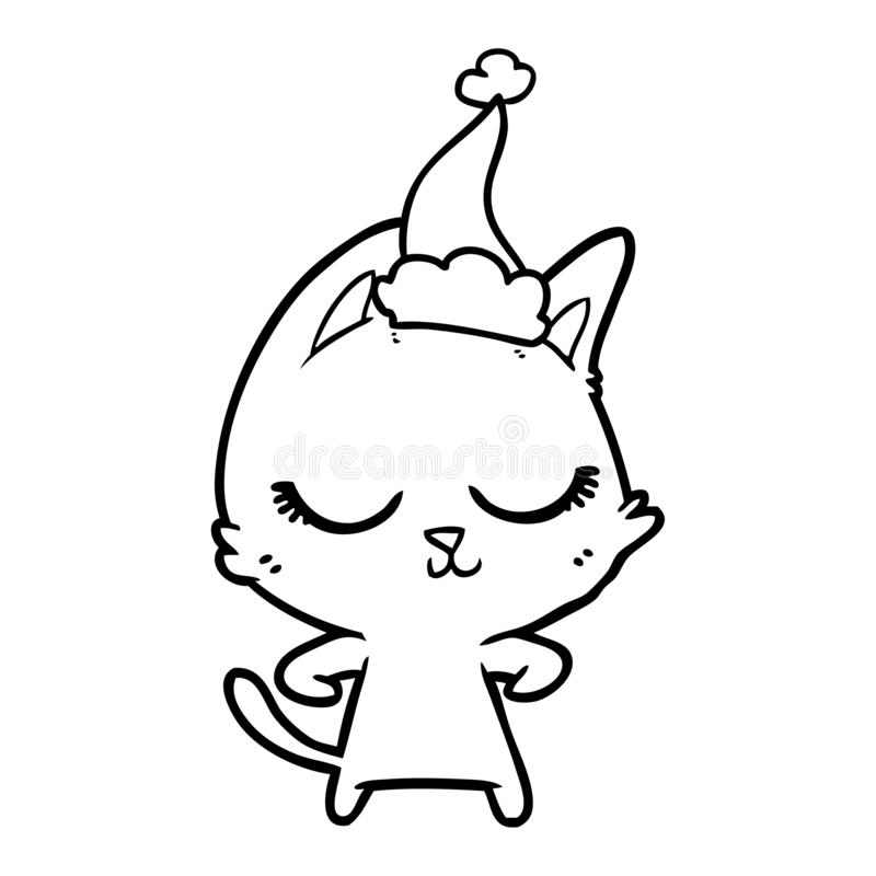 A creative calm line drawing of a cat wearing santa hat. An original creative calm line drawing of a cat wearing santa hat vector illustration