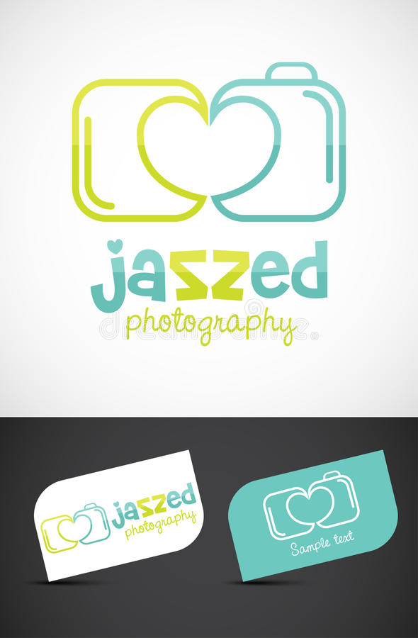 Creative Camera logo. Creative photo camera logo for love/wedding photography. Vector EPS10 file included