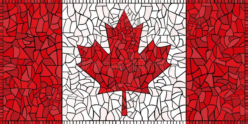 Creative CANADA national flag. Canada national flag The Maple Leaf created as window-pane; original size ratio - 1:2 stock illustration