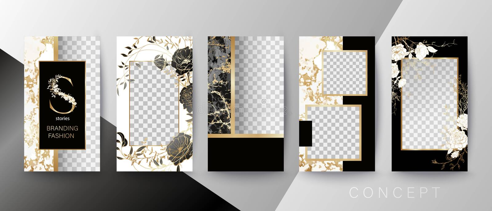 Creative card, invitation, frame for text or photo. Quote template. Art concept for Stories. Black marble, floral and golden frame vector illustration