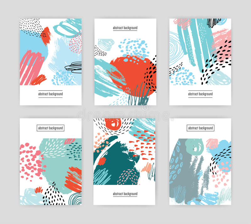 Creative cards with abstract pattern, hand drawn doodle textures. collection colorful background with place for text. Creative cards with abstract pattern, hand royalty free illustration