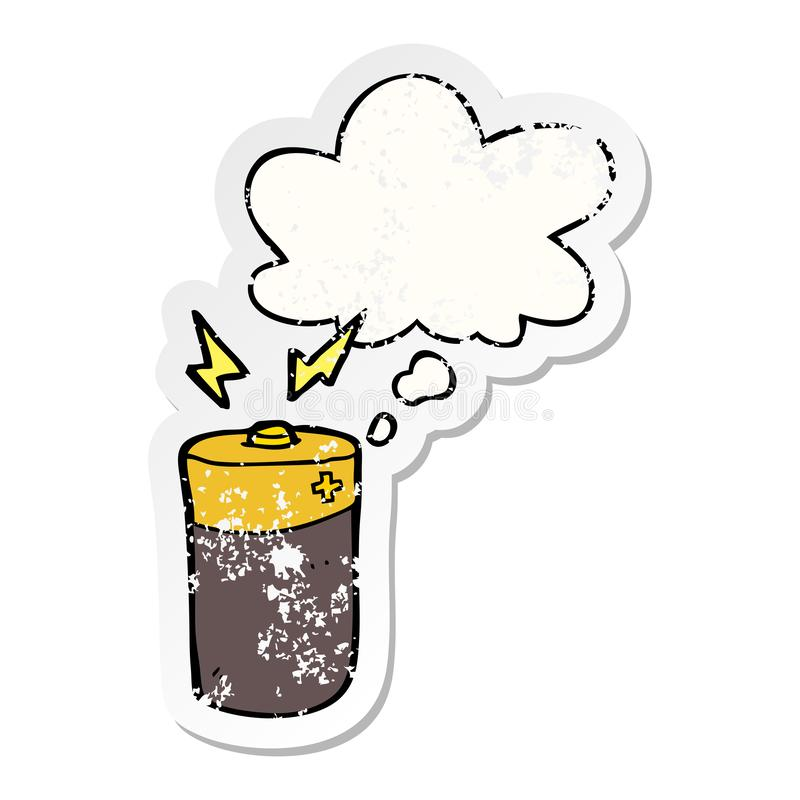A creative cartoon battery and thought bubble as a distressed worn sticker vector illustration