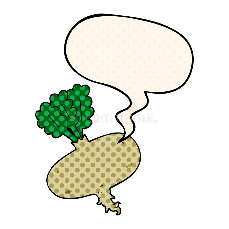 A creative cartoon beetroot and speech bubble in comic book style. An original creative cartoon beetroot and speech bubble in comic book style stock illustration