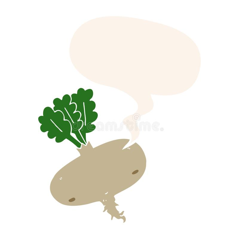 A creative cartoon beetroot and speech bubble in retro style. An original creative cartoon beetroot and speech bubble in retro style vector illustration