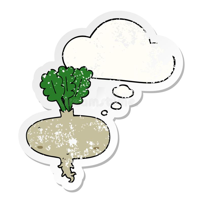 A creative cartoon beetroot and thought bubble as a distressed worn sticker. An original creative cartoon beetroot and thought bubble as a distressed worn vector illustration