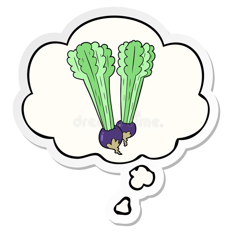 A creative cartoon beetroot and thought bubble as a printed sticker. An original creative cartoon beetroot and thought bubble as a printed sticker royalty free illustration