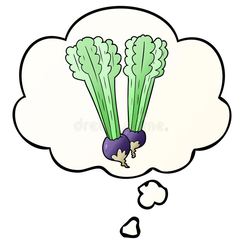 A creative cartoon beetroot and thought bubble in smooth gradient style. An original creative cartoon beetroot and thought bubble in smooth gradient style vector illustration