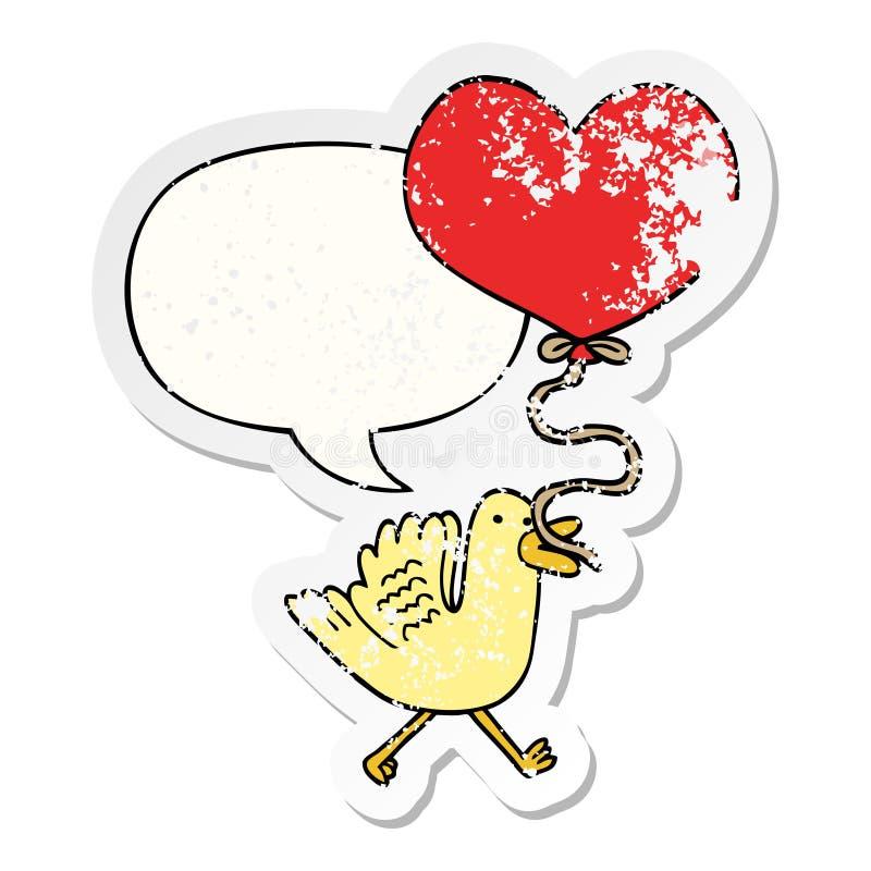 A creative cartoon bird and heart balloon and speech bubble distressed sticker. An original creative cartoon bird and heart balloon and speech bubble distressed vector illustration