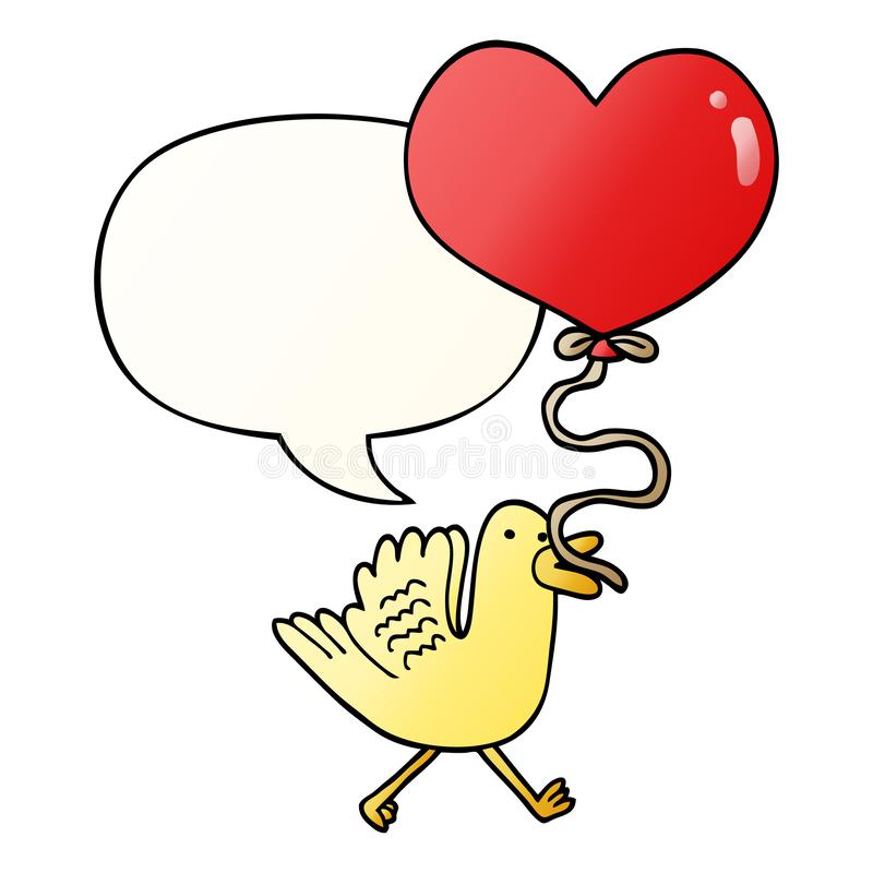 A creative cartoon bird and heart balloon and speech bubble in smooth gradient style. An original creative cartoon bird and heart balloon and speech bubble in royalty free illustration