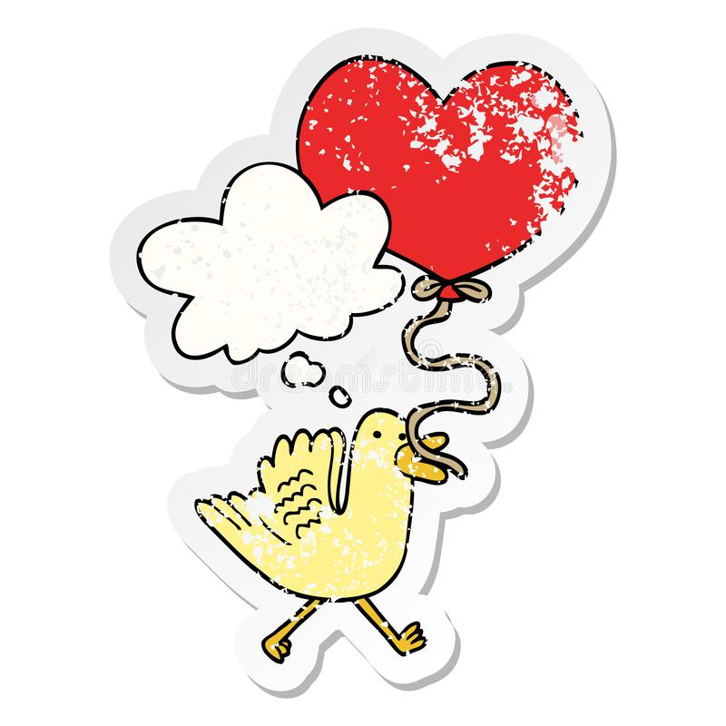 A creative cartoon bird with heart balloon and thought bubble as a distressed worn sticker. An original creative cartoon bird with heart balloon and thought stock illustration