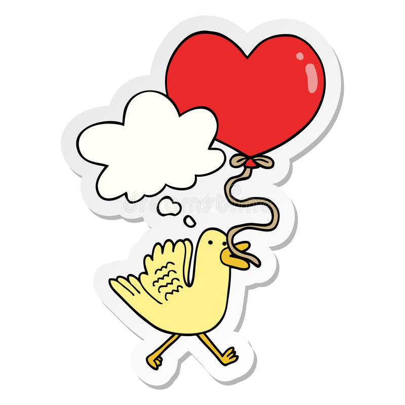 A creative cartoon bird with heart balloon and thought bubble as a printed sticker. An original creative cartoon bird with heart balloon and thought bubble as a vector illustration