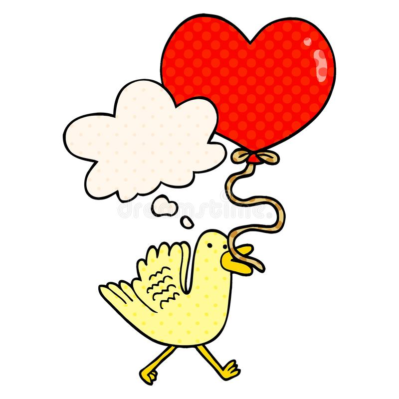 A creative cartoon bird with heart balloon and thought bubble in comic book style. An original creative cartoon bird with heart balloon and thought bubble in royalty free illustration
