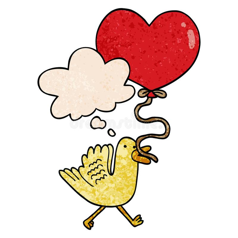 A creative cartoon bird with heart balloon and thought bubble in grunge texture pattern style. An original creative cartoon bird with heart balloon and thought royalty free illustration