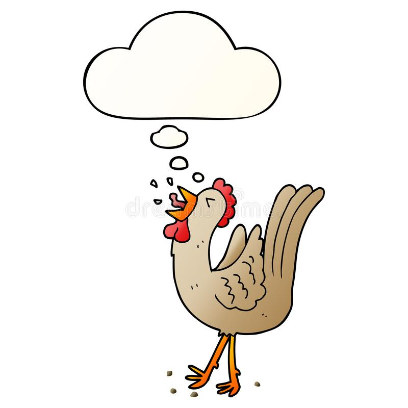 A creative cartoon crowing cockerel and thought bubble in smooth gradient style. An original creative cartoon crowing cockerel and thought bubble in smooth vector illustration