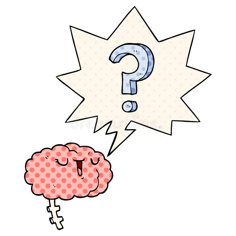 A creative cartoon curious brain and speech bubble in comic book style. An original creative cartoon curious brain and speech bubble in comic book style stock illustration