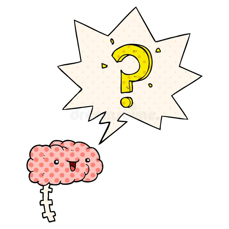 A creative cartoon curious brain and speech bubble in comic book style. An original creative cartoon curious brain and speech bubble in comic book style vector illustration