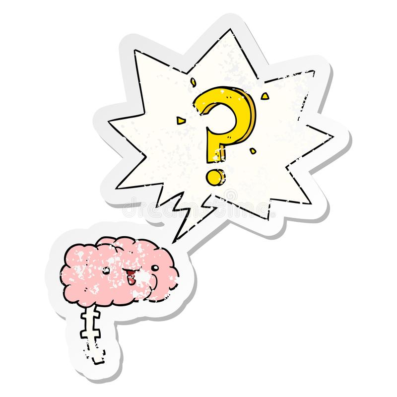 A creative cartoon curious brain and speech bubble distressed sticker. An original creative cartoon curious brain and speech bubble distressed sticker royalty free illustration