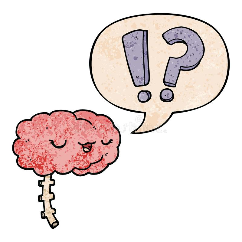 A creative cartoon curious brain and speech bubble in retro texture style. An original creative cartoon curious brain and speech bubble in retro texture style royalty free illustration