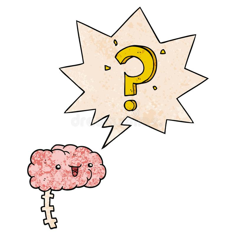 A creative cartoon curious brain and speech bubble in retro texture style. An original creative cartoon curious brain and speech bubble in retro texture style vector illustration