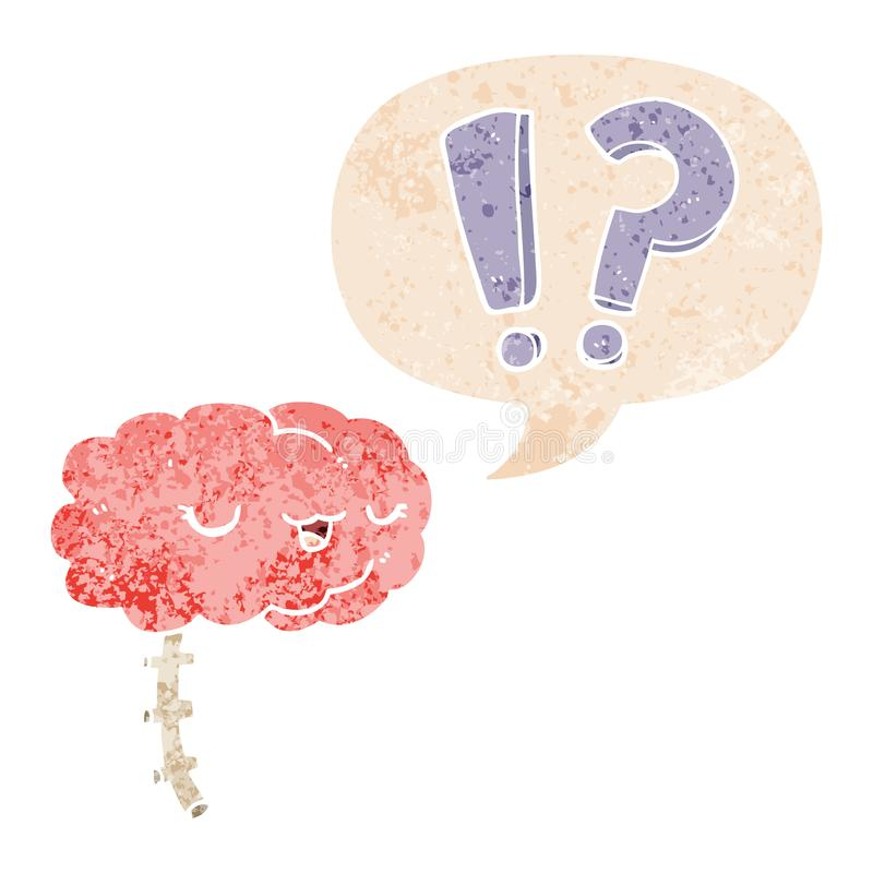A creative cartoon curious brain and speech bubble in retro textured style. An original creative cartoon curious brain and speech bubble in retro textured style stock illustration